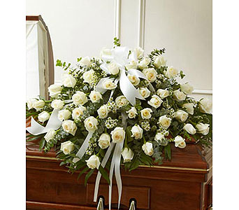 Cherished Memories White Rose Casket Cover