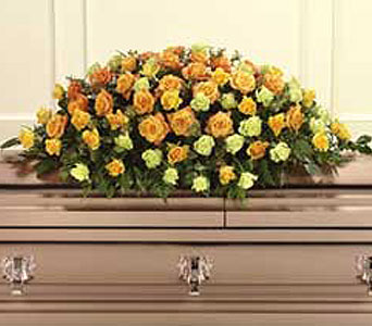 Orange, Yellow & Green Roses Casket Spray