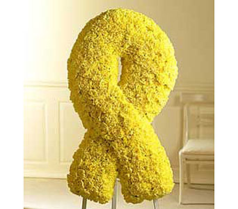 Yellow Remembrance Ribbon Spray