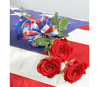 Patriotic Red Rose Bouquet for Sympathy