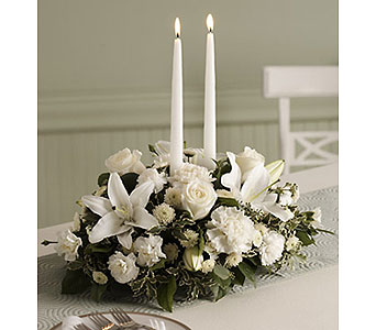 White Centerpiece with Candles