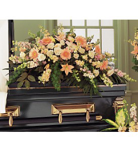 Peach Half-Couch Casket Spray