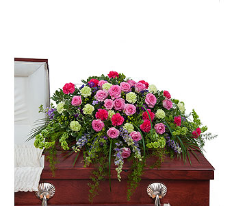Forever Cherished Casket Spray in Bloomington IL, Forget Me Not Flowers