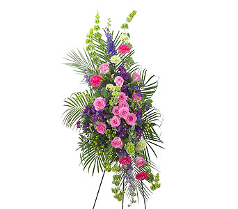 Forever Cherished Easel Spray in Mount Morris MI, June's Floral Company & Fruit Bouquets