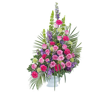 Forever Cherished Crescent Spray in Mount Morris MI, June's Floral Company & Fruit Bouquets