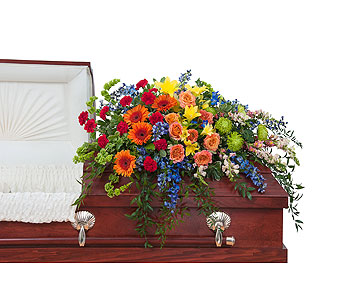 Treasured Celebration Casket Spray in Bloomington IL, Forget Me Not Flowers
