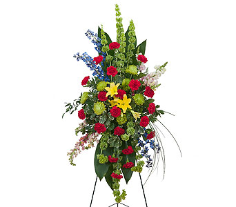 Treasured Celebration Standing Spray in Spartanburg SC, A-Arrangement Florist