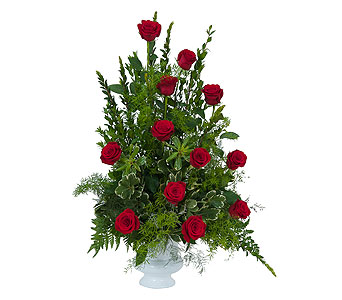 Royal Dozen Rose Urn in Harrisonburg VA, Blakemore's Flowers, LLC