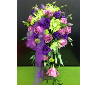 Green & Purple Cascade in Kissimmee FL, Golden Carriage Florist