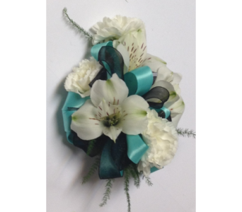Tiffany Corsage - Includes Silver Elastic Wristlet in Wyoming MI, Wyoming Stuyvesant Floral
