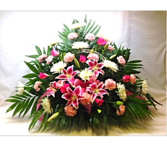 Filer's Pink Tribute Funeral Basket in Cleveland OH, Filer's Florist Greater Cleveland Flower Co.