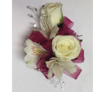 Champagne and Diamonds & Burgundy Wrist Corsage in Wyoming MI, Wyoming Stuyvesant Floral