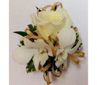 Full-Size Eskimo Rose w/Orchids Wrist Corsage in Wyoming MI, Wyoming Stuyvesant Floral