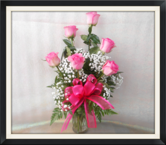 6 Pink Roses in Tyler TX, The Flower Box