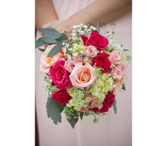 Hot Pink, Peach & Green Hand-Tied in Kissimmee FL, Golden Carriage Florist