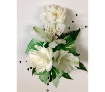 White and Green Wrist Corsage in Wyoming MI, Wyoming Stuyvesant Floral