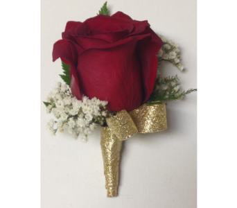 Red Rose with Baby's Breath & Gold Boutonniere in Wyoming MI, Wyoming Stuyvesant Floral