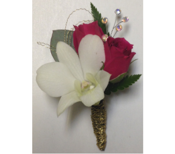 Hot Pink and Gold Boutonniere in Wyoming MI, Wyoming Stuyvesant Floral