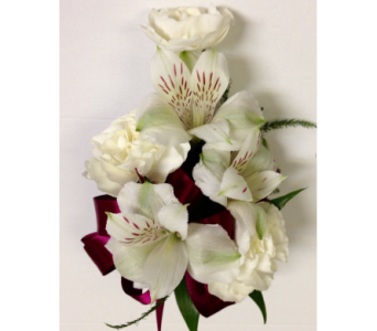White Flowers and Burgundy Wrist Corsage in Wyoming MI, Wyoming Stuyvesant Floral