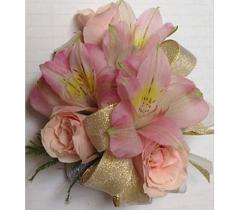 Sweet Pink and Gold Wrist Corsage in Wyoming MI, Wyoming Stuyvesant Floral