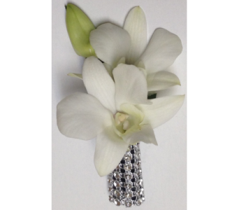 Orchids & Rhinestones Boutonniere in Wyoming MI, Wyoming Stuyvesant Floral