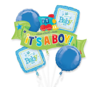 Welcome Little Boy Mylar Balloon Bouquet in Indianapolis IN, Steve's Flowers and Gifts