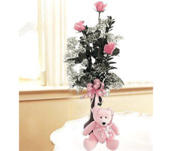 3 ROSE BUD VASE & TEDDY BEAR in Indianapolis IN, George Thomas Florist