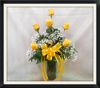 6 Yellow Roses in Tyler TX, The Flower Box