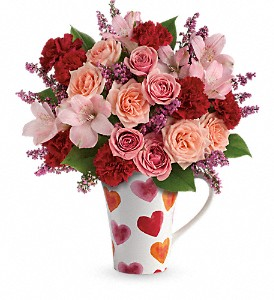 Teleflora's Lovely Hearts Bouquet in The Woodlands TX, Rainforest Flowers