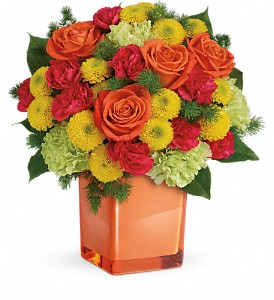 Teleflora's Citrus Smiles Bouquet in Redwood City CA, A Bed of Flowers
