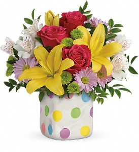Teleflora's Delightful Dots Bouquet in Portland TN, Sarah's Busy Bee Flower Shop