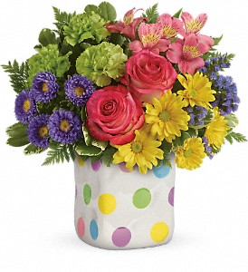 Teleflora's Happy Dots Bouquet in Lewiston ME, Val's Flower Boutique, Inc.