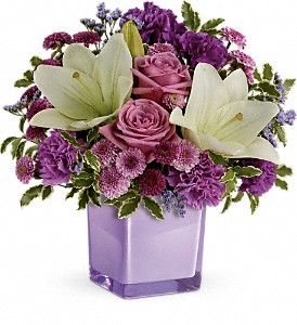 Teleflora's Pleasing Purple Bouquet in Austintown OH, Crystal Vase Florist