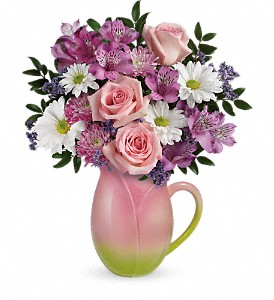 Teleflora's Spring Tulip Pitcher Bouquet in The Woodlands TX, Rainforest Flowers