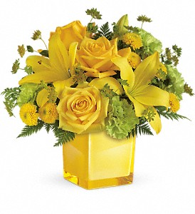 Teleflora's Sunny Mood Bouquet in Charleston WV, Food Among The Flowers