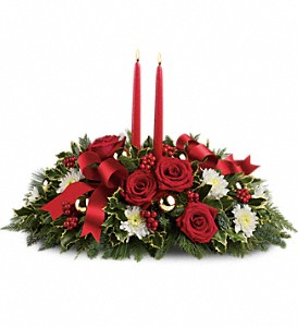 Holiday Shimmer Centerpiece in Bakersfield CA, White Oaks Florist