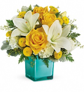 Teleflora's Golden Laughter Bouquet in Jamesburg NJ, Sweet William & Thyme