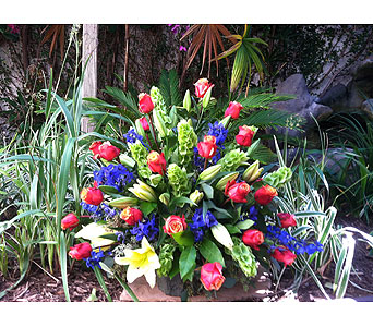 Bold Colorful Sympathy Piece. in Rancho Santa Fe CA, Rancho Santa Fe Flowers And Gifts