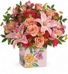 Teleflora's Brushed With Blossoms Bouquet in The Woodlands TX, Rainforest Flowers