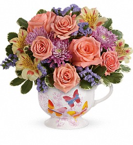 Teleflora's Butterfly Sunrise Bouquet in Bluffton IN, Posy Pot
