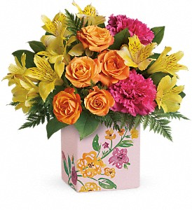 Teleflora's Painted Blossoms Bouquet in Niagara Falls NY, Evergreen Floral