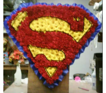 Superman Sympathy Arrangement in Belford NJ, Flower Power Florist & Gifts