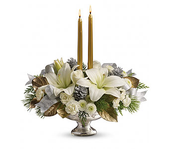 Teleflora's Silver And Gold Centerpiece in Detroit and St. Clair Shores MI, Conner Park Florist