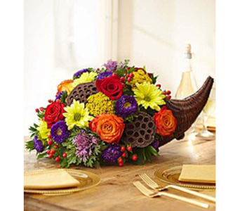 Deluxe Cornucopia Centerpiece in New Paltz NY, The Colonial Flower Shop