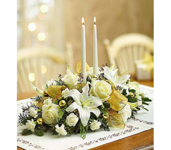 White and Gold Holiday Centerpiece dans Watertown CT, Agnew Florist