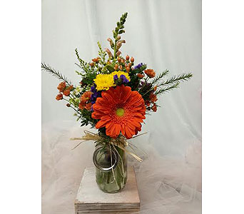 Tfall Mason Jar Arrangement in New Paltz NY, The Colonial Flower Shop