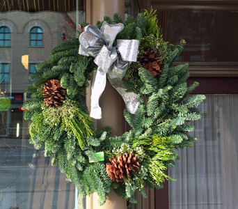 Mixed Evergreen Wreath Square in Aurora ON, Caruso & Company
