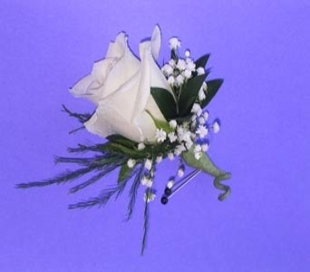 Classic White Rose Boutonniere in Cary NC, Cary Florist
