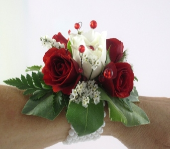 Red Rose Quartet Corsage in Cary NC, Cary Florist