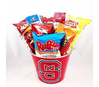 Go Pack Snack Bucket *ECU & App State Bucket Available in Cary NC, Cary Florist